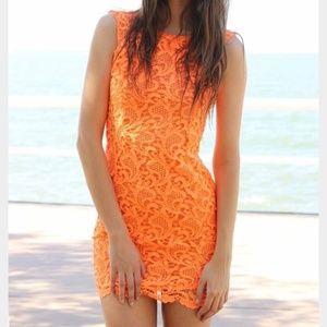 Sabo Skirt Orange Lace Scoop Back Mini Dress